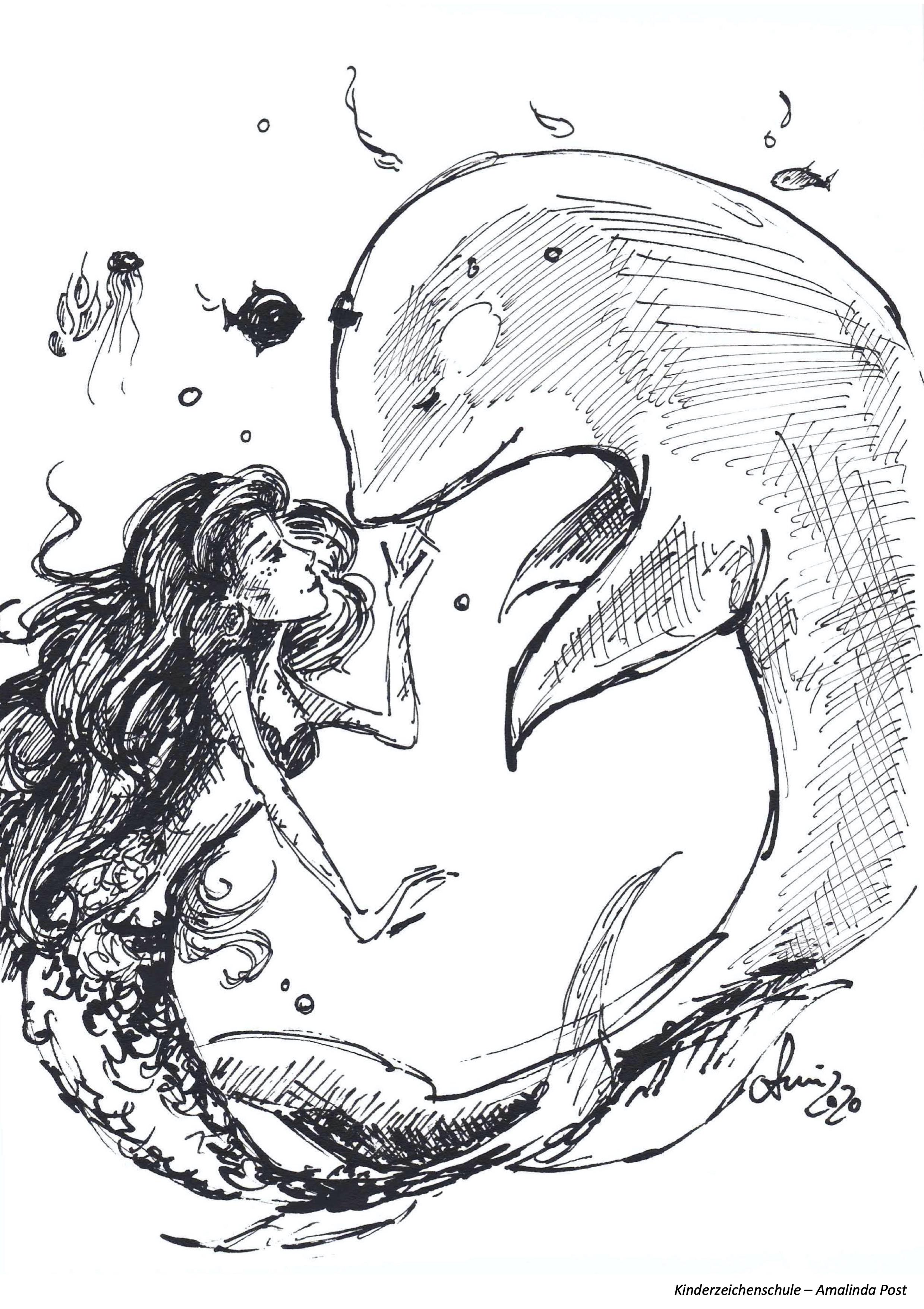 Ausmalbild Delphin und Meerjungfrau