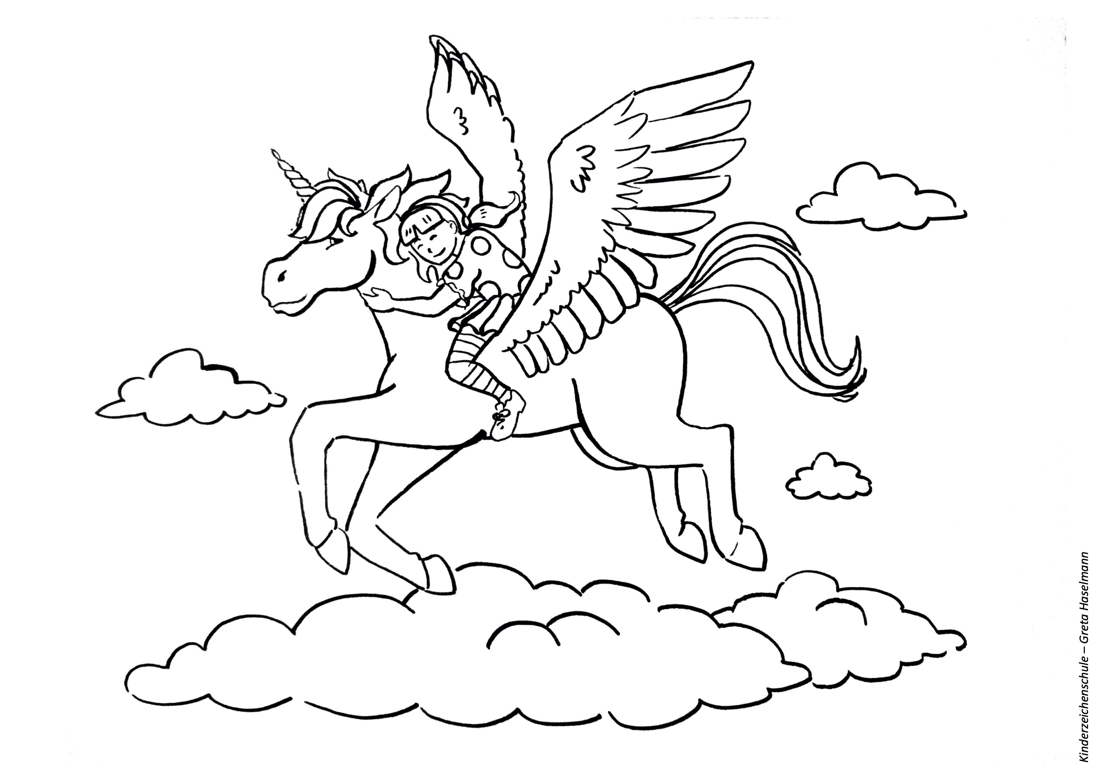 Ausmalbild Mädchen fliegt auf Pegasus Einhorn durch die Wolken