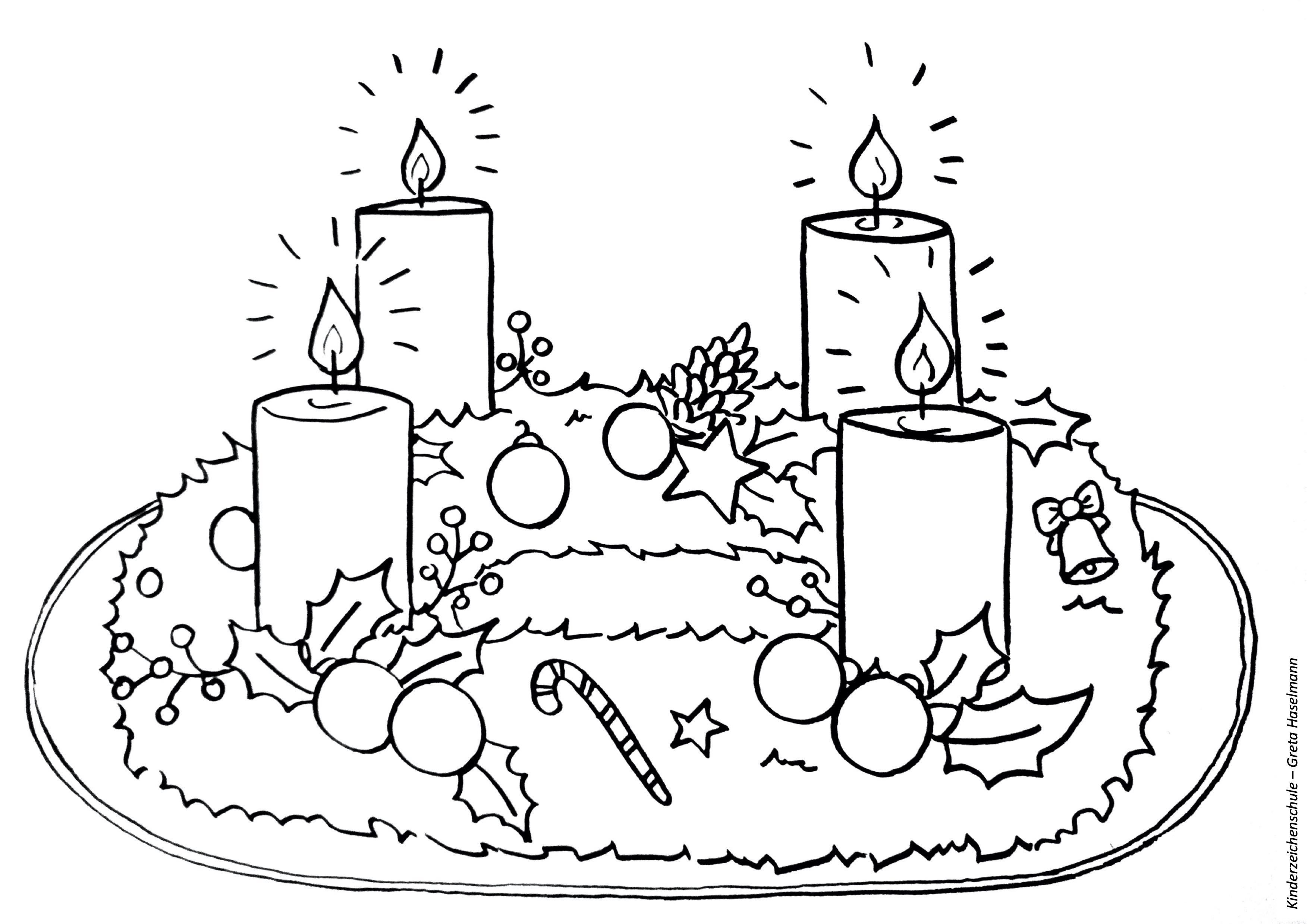 Ausmalbild Adventskranz