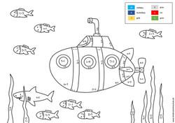 Uboot in Unterwasserwelt Malen nach Zahlen Aufgabe Addition bis 10