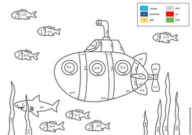 Unterwasserwelt mit Uboot und Fischen Malen nach Zahlen Aufgabe