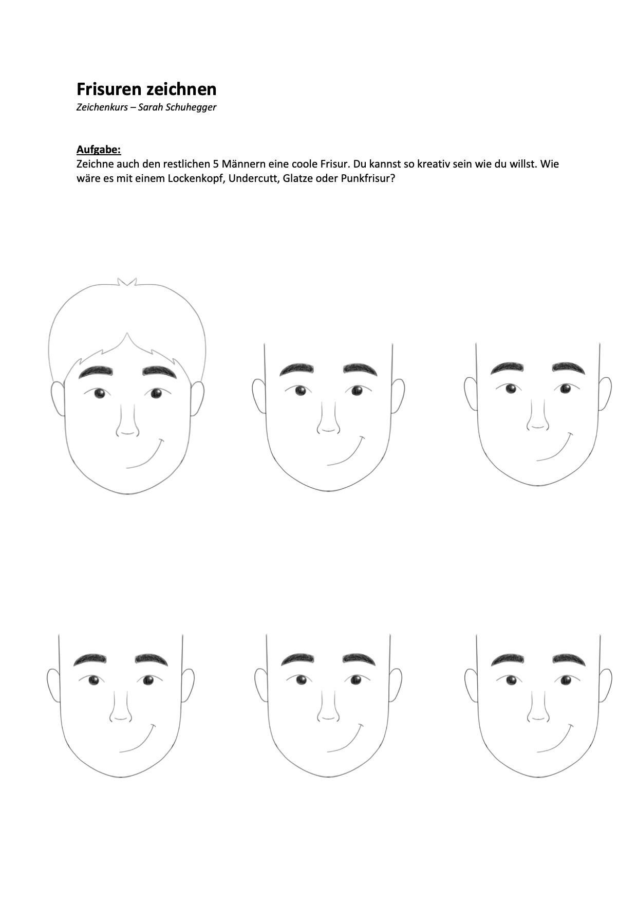 Frisuren Männer zeichnen