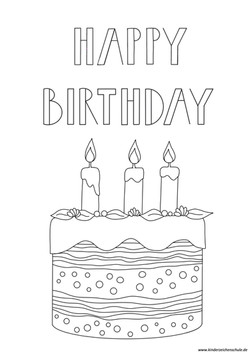 Ausmalbild Geburtstag - Happy Birthday