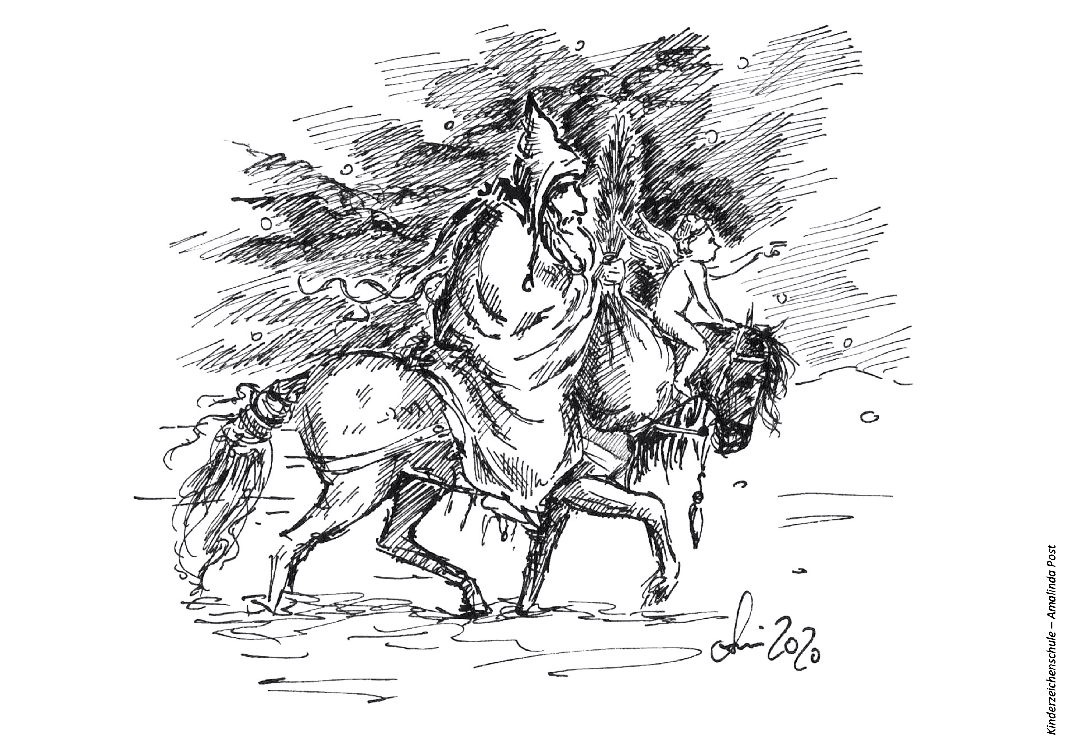 Ausmalbild Christkind und Knecht Ruprecht