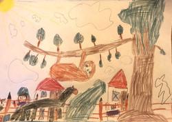 Zeichnung von Lotte mit Faultier auf Baum und mit Pferden