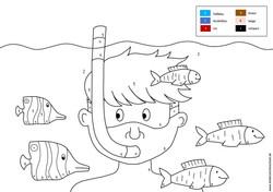 Junge mit Fischen in Unterwasserwelt Malen nach Zahlen