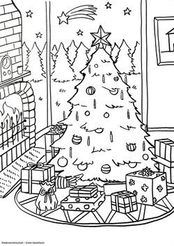 Ausmalbild Tannenbaum mit Geschenken