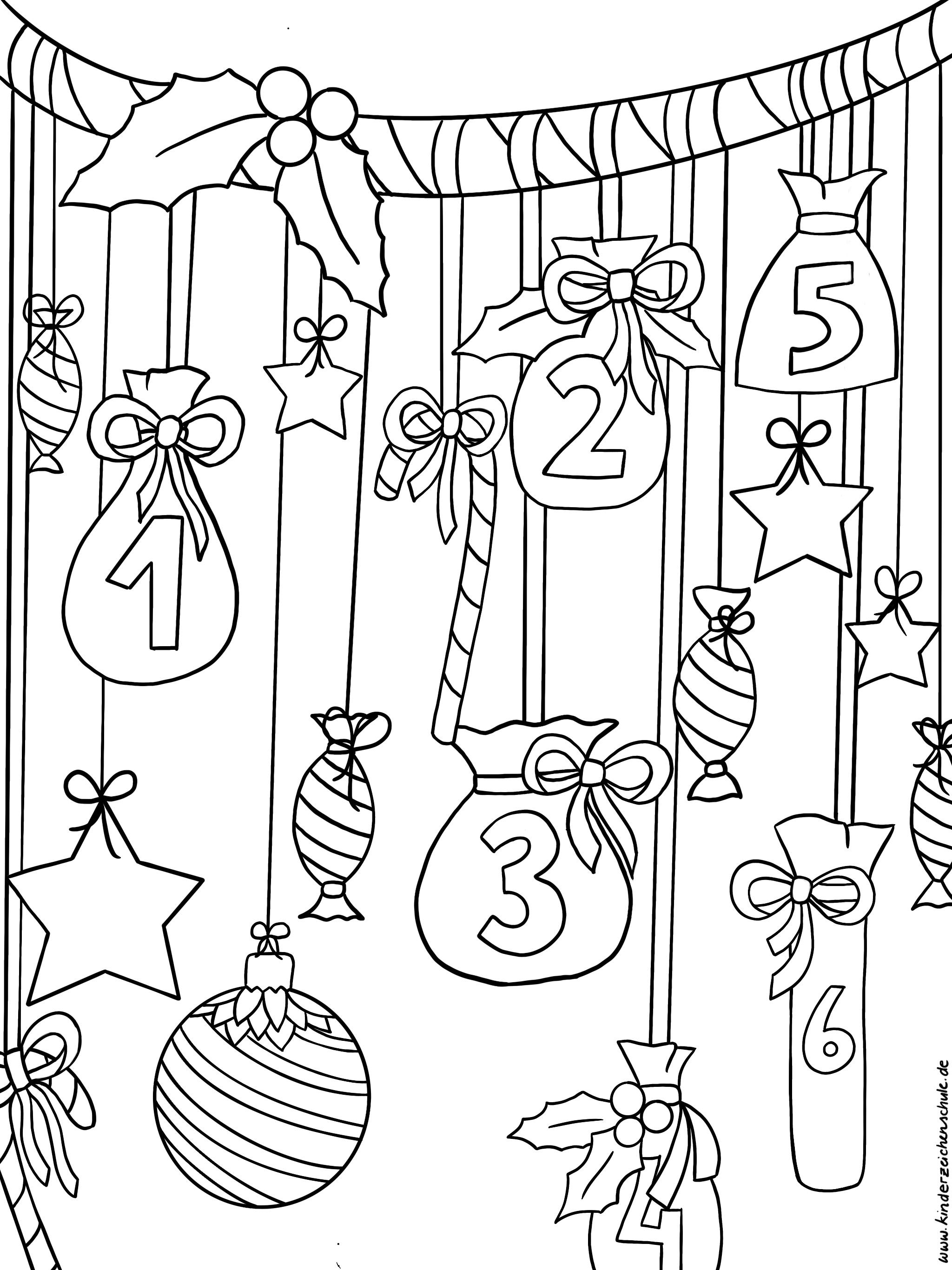 Ausmalbild weihnachtlicher Adventskalender