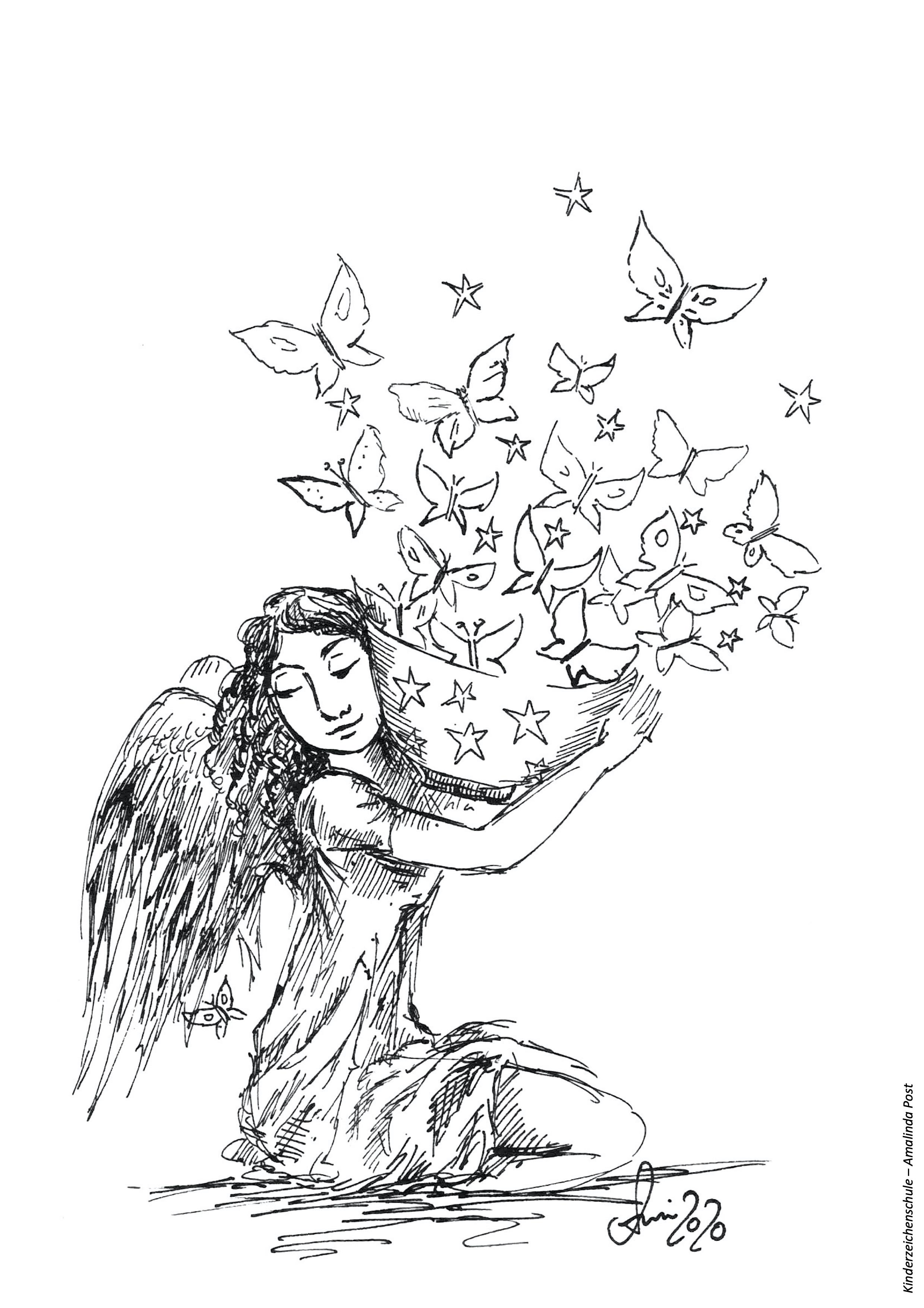 Ausmalbild Engel mit Schmetterlingen