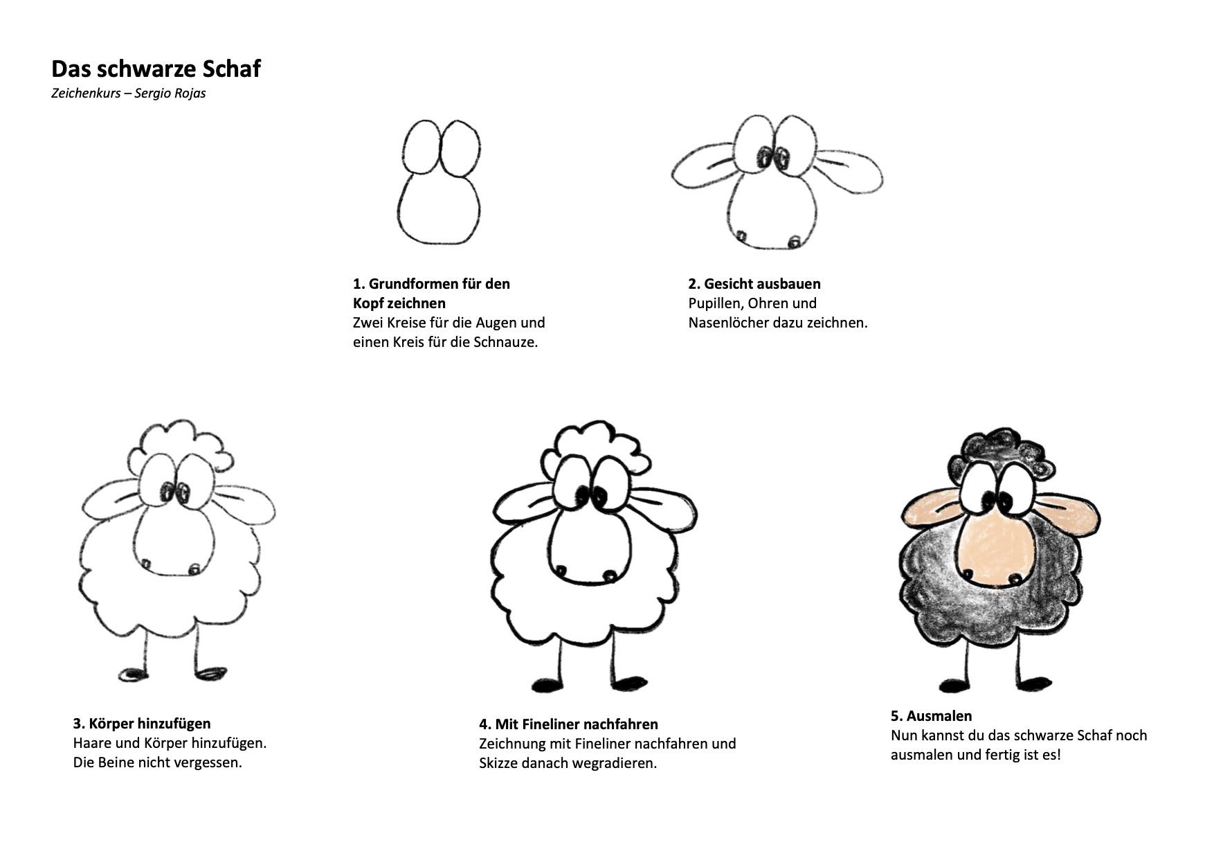 Das schwarze Schaf Zeichenanleitung