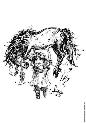 Ausmalbild Pippi Langstrumpf mit Pferd