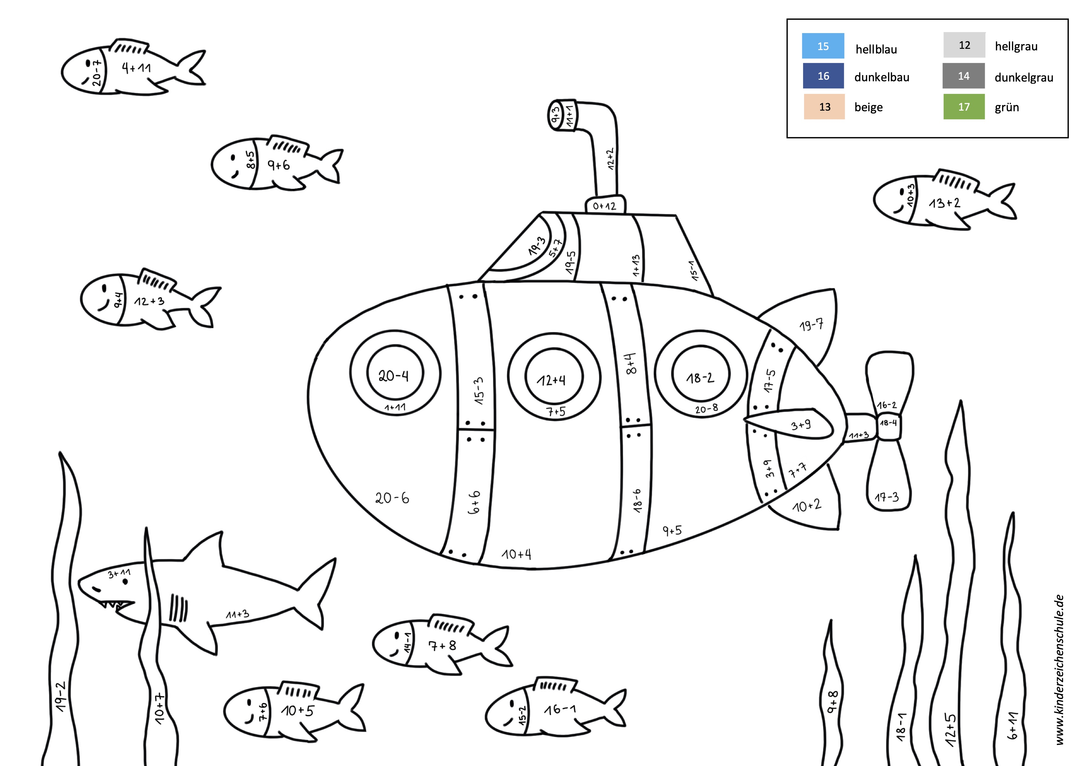 Uboot in Unterwasserwelt mit Fischen Malen nach Zahlen mit Rechenaufgaben Addition und Subtraktion b