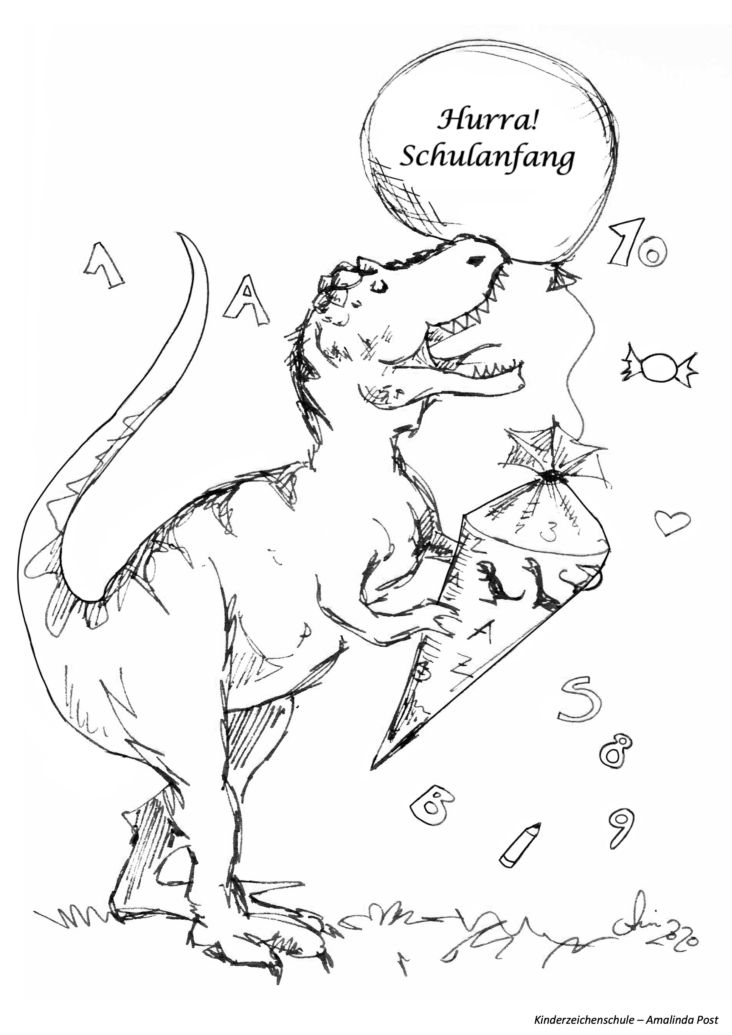 Ausmalbild Dino Schulstart