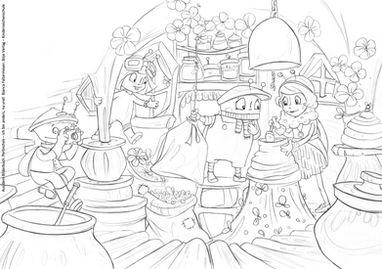 Ausmalbild Perlinchen in der Imkerei