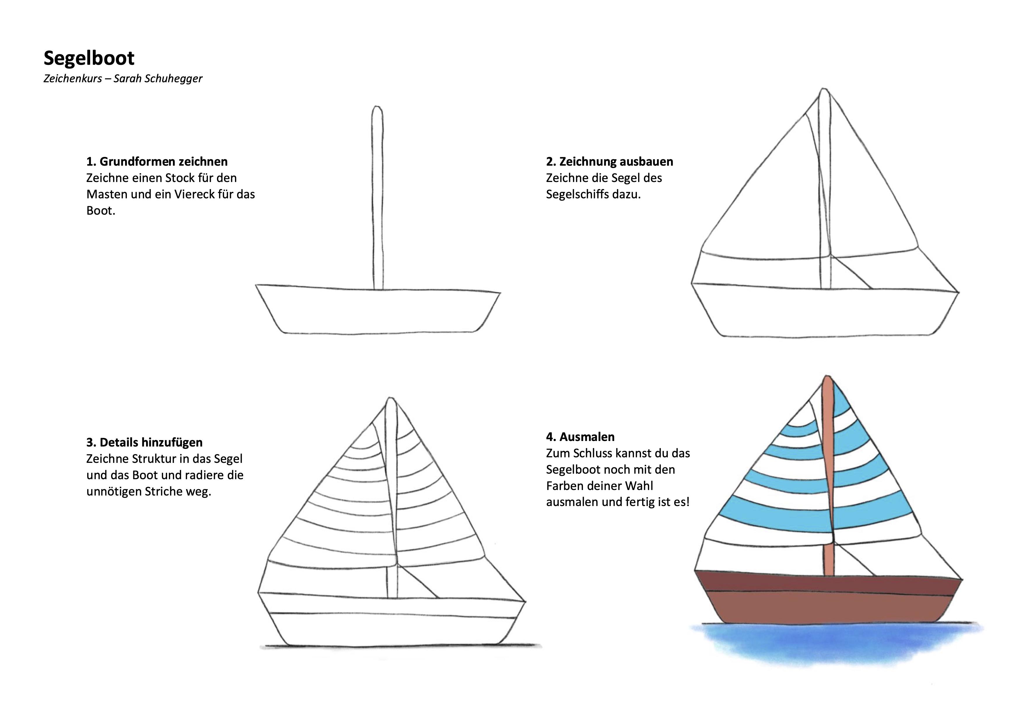 Segelboot Zeichenanleitung