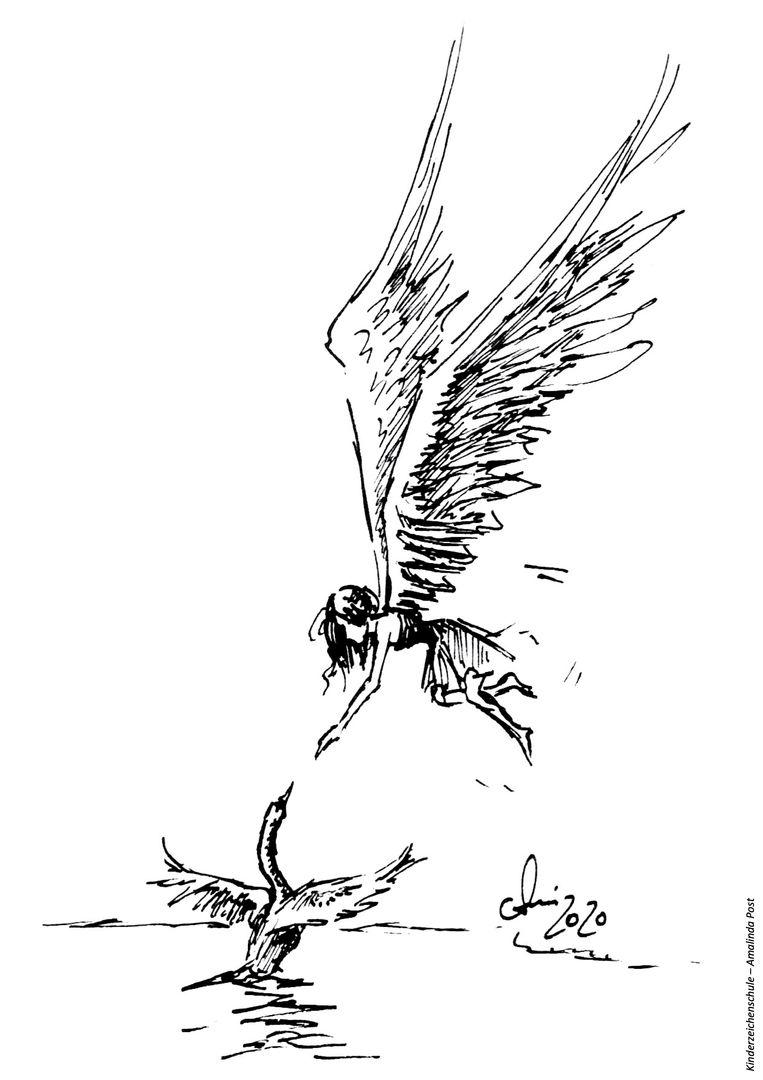 Ausmalbild Engel mit Schwan