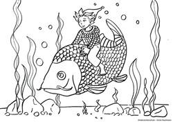 Ausmalbild Wassermann mit Fisch