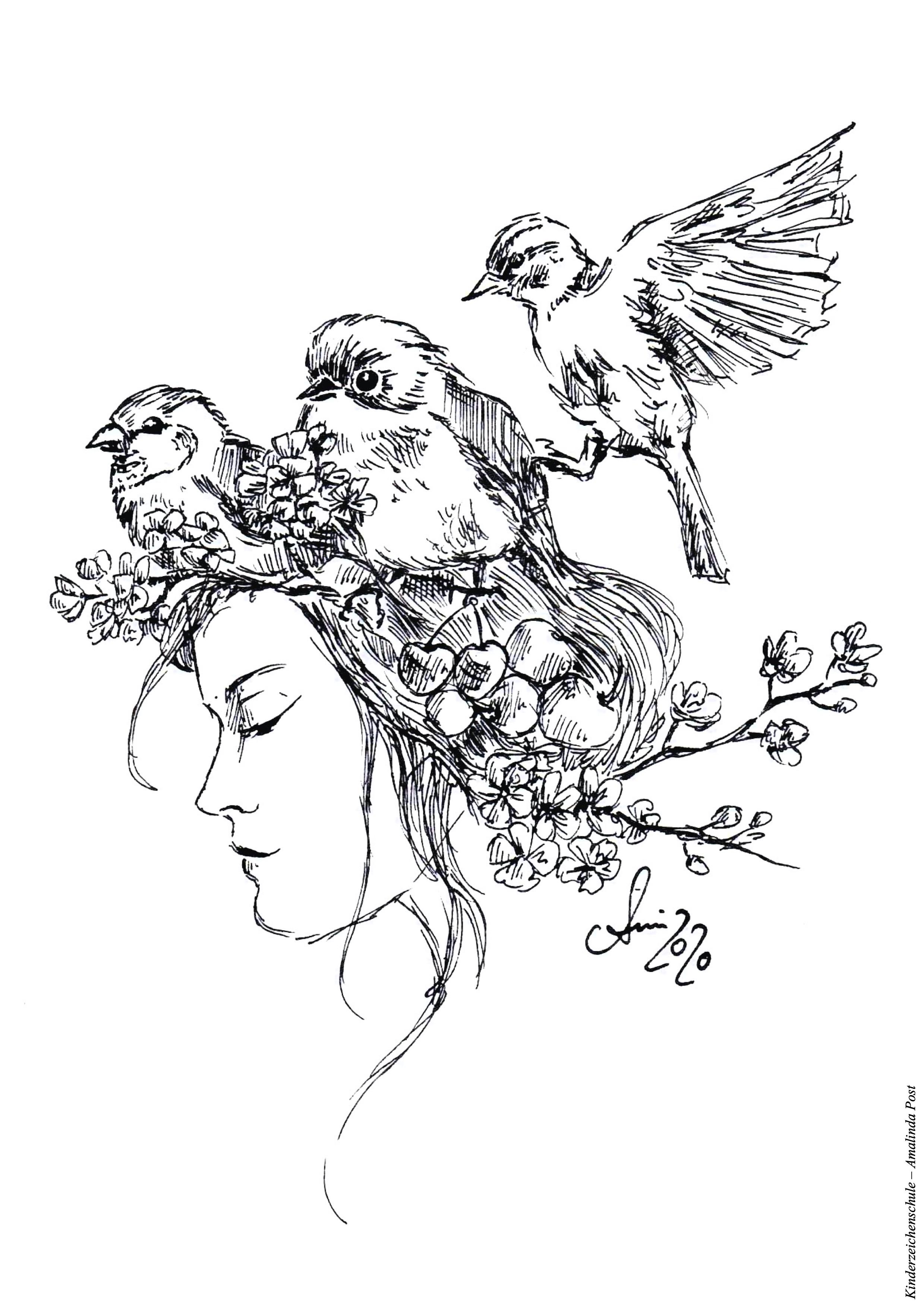 Ausmalbild von Vögeln und Frühling