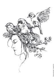 Ausmalbild Frühling Vögel