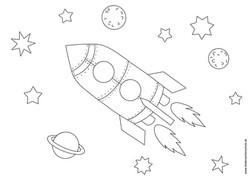Ausmalbild Rakete in Weltraum mit Sternen und Planeten