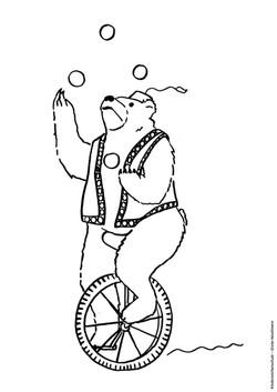 Ausmalbild jonglierender Zirkusbär auf Einrad