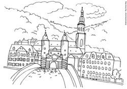 Ausmalbild Heidelberg alte Bruecke