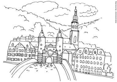 Ausmalbild Alte Bruecke in Heidelberg
