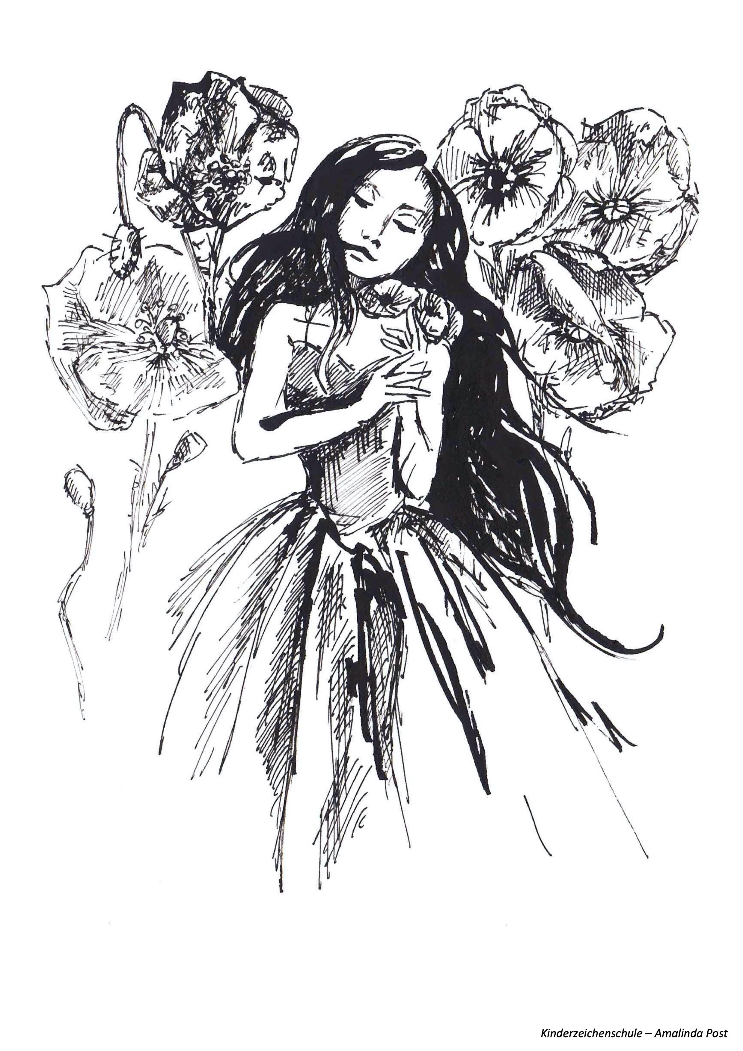 Ausmalbild Blumenmädchen