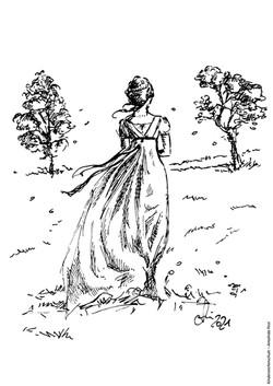 Ausmalbild Maedchen mit Kleid auf Wiese