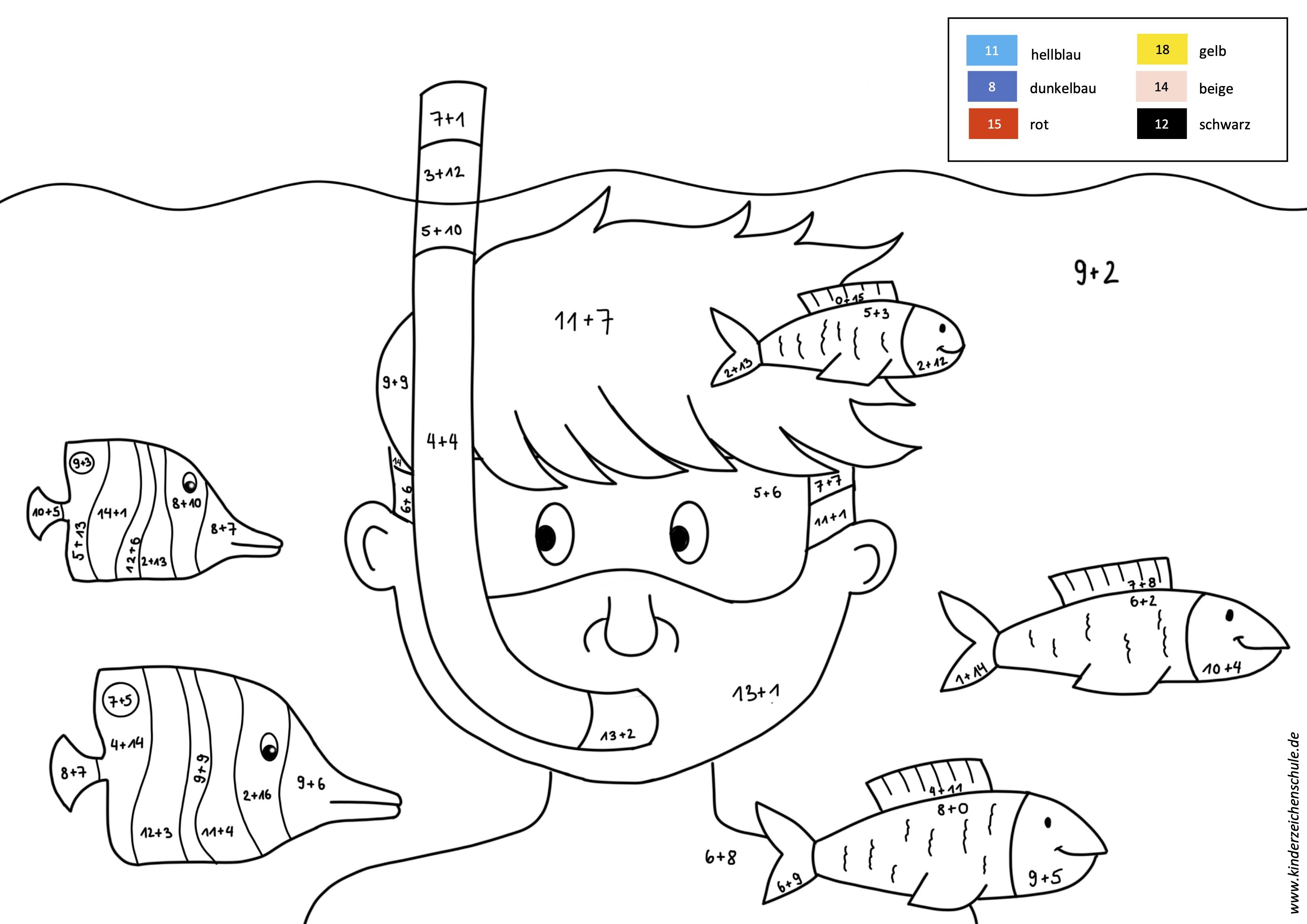 Malen nach Zahlen Junge in Unterwasserwelt mit Fischen Addition bis 20
