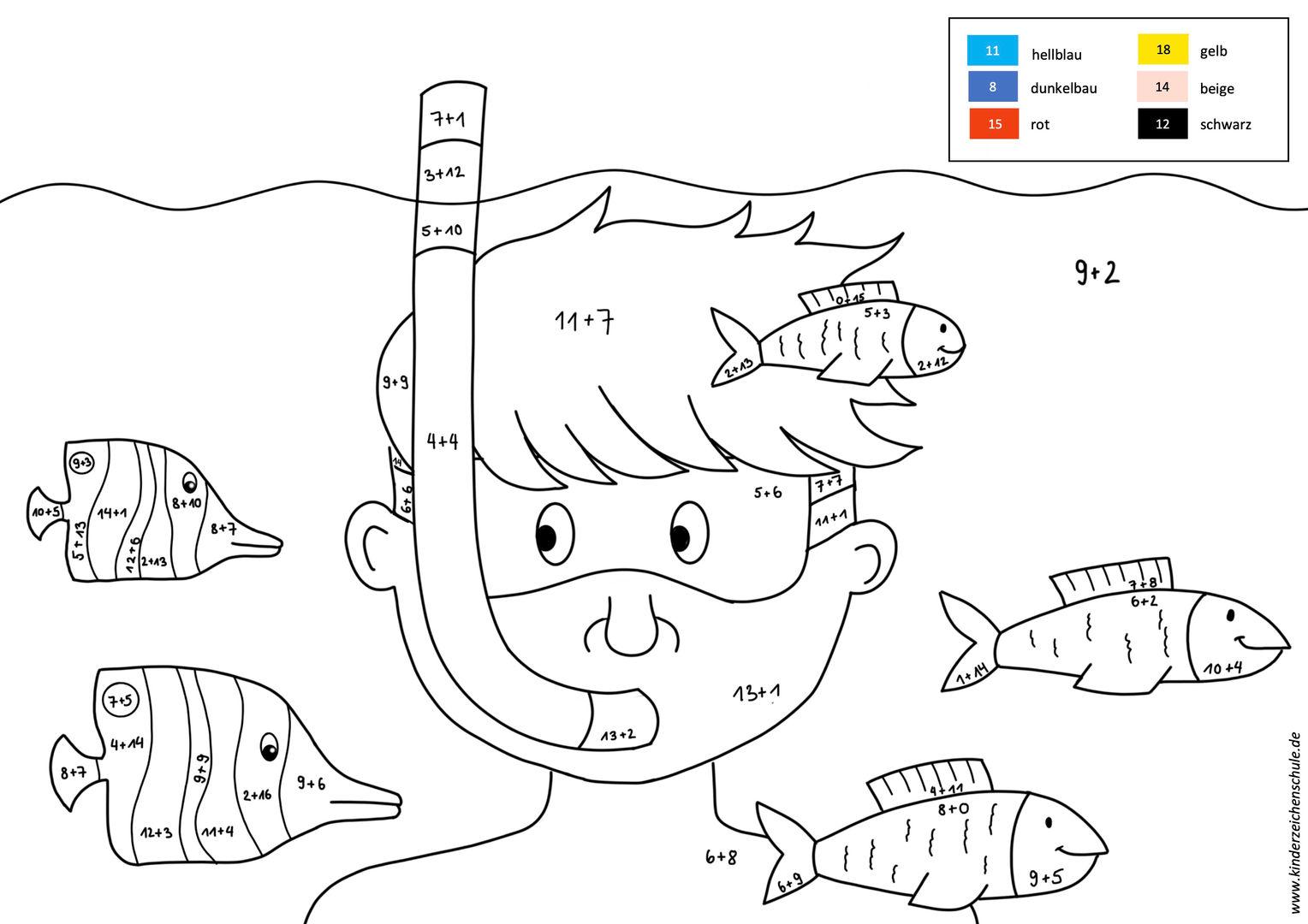 Unterwasserwelt mit Fischen und Junge Malen nach Zahlen Aufgabe
