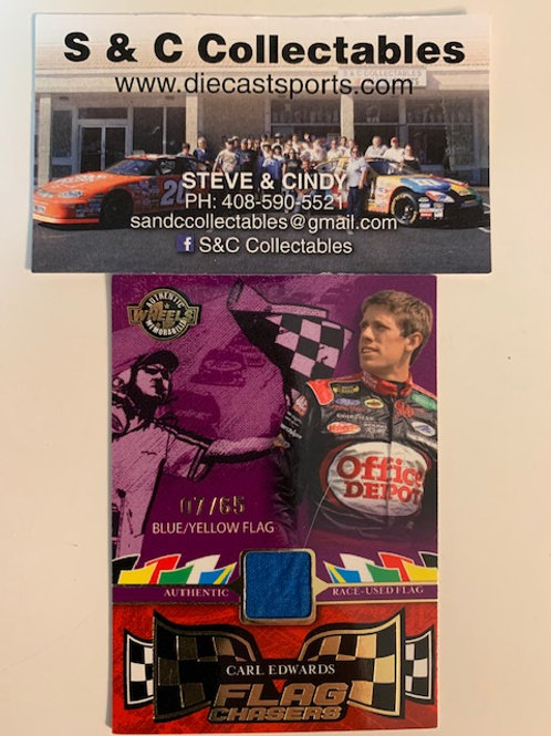 2006 Flag Chasers Raced-Used Piece of Flag Blue/Yellow / Carl Edwards Box# AA