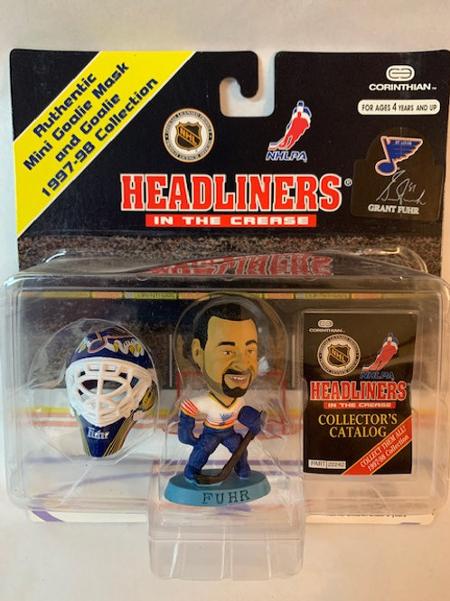1997 Headlingers In the Crease Grant Fuhr  with Mini Goalie Mask   / Box#51