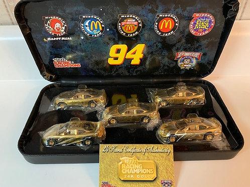 1998  McDonald's 24K Gold 5 Car Set / Bill Elliott 1:24