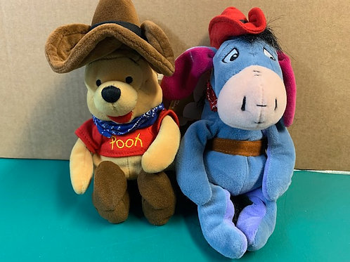 "Disney Beanies Cowboy Pooh & Cowboy Eeyore 9"""