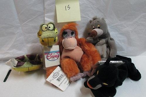 4 Set of Jungle Book- Baloo,King Louie, Baby Kaa, Bagheera / Disney Beanies