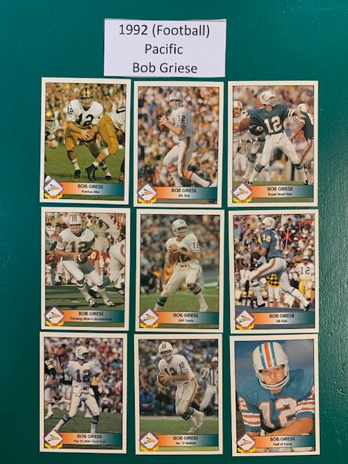1992 Pacific Legends of the Time Bob Griese 9 Card Set  / Football Box# F1