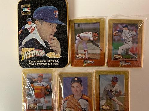 1994-95 Nolan Ryan Embossed Metal Collector  5 Card Set  / Baseball Drawer# 1