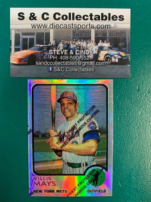 1996 Topps Finest Willie Mays Refractor Card (New York Mets) / Baseball Box# B1