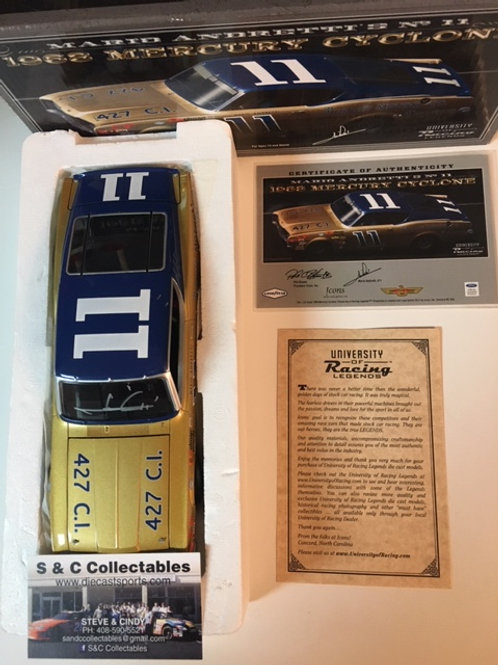2012 Autographed Bunnell Motor Co 1968 Mercury   / Mario Andretti 1:24 Wall