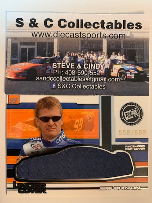 2004 Race-Used Car Cover Silver / Jeff Burton Cards