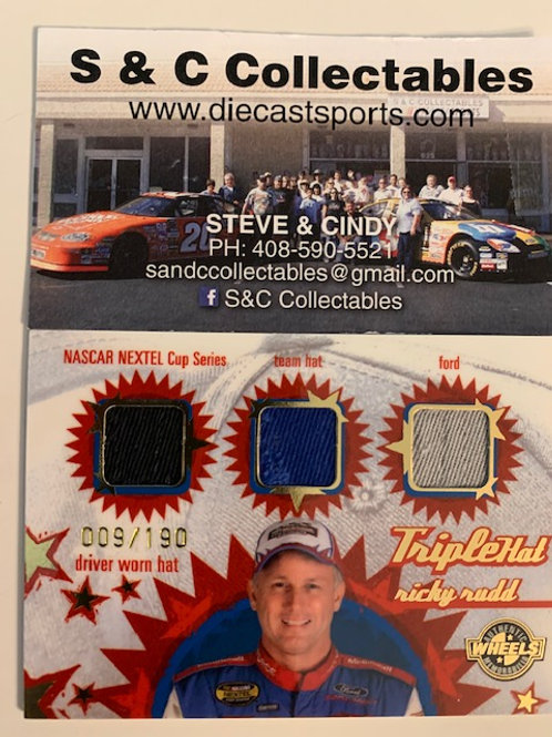 2005 Raced-Used Piece of Driver Worn Triplehat / Ricky Rudd Cards