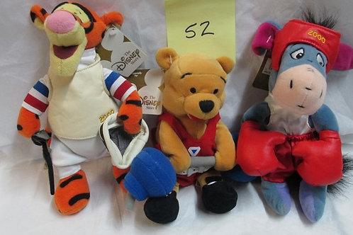2000 Pooh Weightlifting, Tigger Fencing & Eeyore Boxing / Disney Beanies