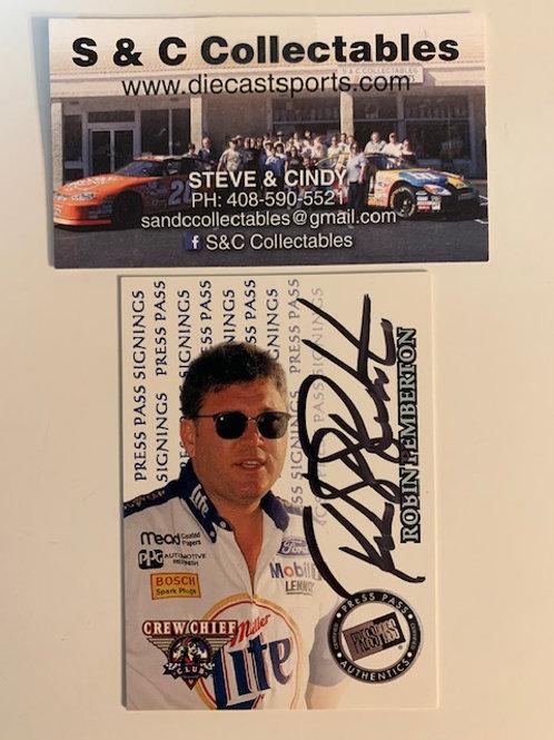 1999 Autographed Press Pass Signings / Robin Pemberton Box# EE