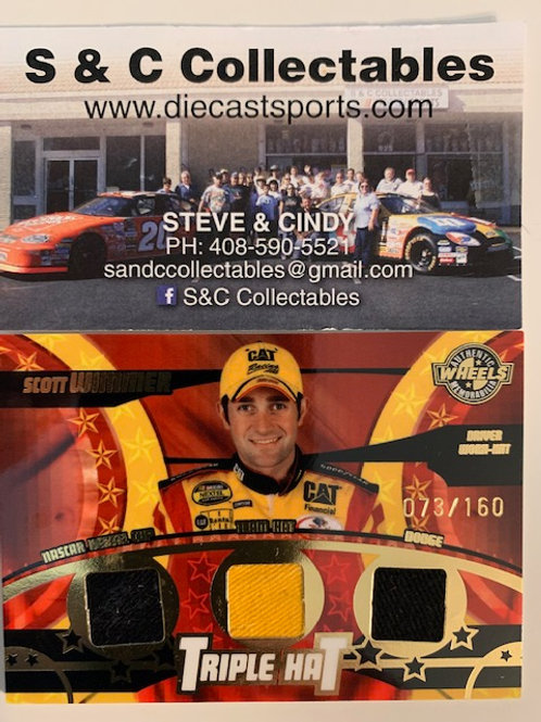2005 Raced-Used Piece of Driver Worn Triplehat / Scott Wimmer Cards