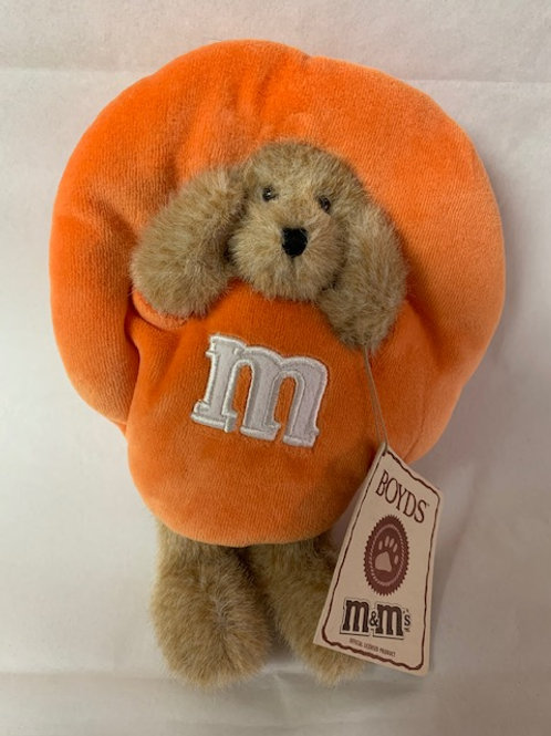 2005 M&M's Boyds Bear  Dressed up as Orange Crispy / M&M Stuff Box#1