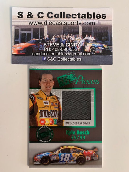 2005 Car Cover Press Pass Race-Used  (Green) #44/99  / Kyle Busch Box# AA