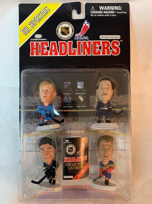 1997 Headlingers Superstars-Gretzky, Messier, Lemieux,  Hull / Box#51