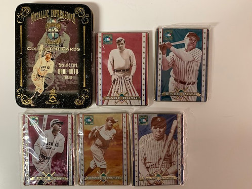 1994 Babe Ruth Metallic Impressions 5 Card Set  / Baseball Drawer# 1