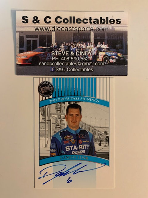 2003 Autographed Press Pass Signings / Damon Lusk   Box# EE